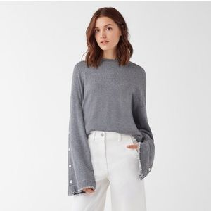 Splendid Ombré Snap Raw Hem Bell Sleeve Sweatshirt